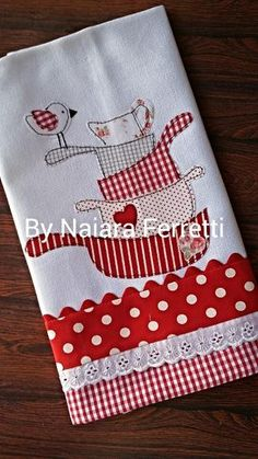 Discover thousands of images about Machine embroidery cutwork. Sewing Appliques, Applique Patterns, Applique Designs, Embroidery Designs, Sewing Patterns, Sewing Hacks, Sewing Crafts, Sewing Projects, Dish Towels