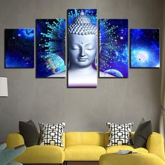 buddha decor Silver Buddha Head Canvas We have 2 options for this print-With Frames ,Or No choose option when you buy. With Framed means the print has been stretched on wood frame,Ready Buddha Canvas, Buddha Wall Art, Buddha Decor, Buddha Painting, Buddha Head, Panel Wall Art, Framed Wall Art, Wall Art Decor, 5 Piece Canvas Art