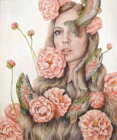 To Flop or Flower - Fine Art Painting Reproduction Print - Surreal Self Portrait Magical Realism Rainbow Trout and Peonies - Art Floral, Flower Canvas, Flower Art, L'art Du Portrait, Surrealism Painting, Pop Surrealism, Fine Art Prints, Canvas Prints, Art Et Illustration