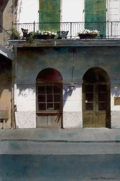 Dean Mitchell, Beautiful & Peaceful, New Orleans, watercolor, 15 x Watercolor Architecture, Watercolor Landscape, Watercolor Paintings, Watercolors, Painting Abstract, Acrylic Paintings, Urban Landscape, Landscape Art, Landscape Paintings