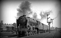 46113 Cameronian leaving Skipton with northbound express. Diesel Locomotive, Steam Locomotive, Royal Engineers, Train Room, Steam Railway, Train Art, British Rail, Steam Engine, Abandoned Places