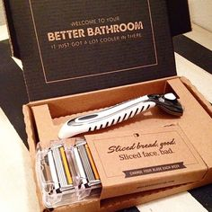 Dollar Shave Club razor delivery right to your door, for a couple bucks a month.