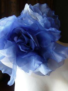 SALE Grand Millinery Rose in Sapphire Blue Silk by MaryNotMartha