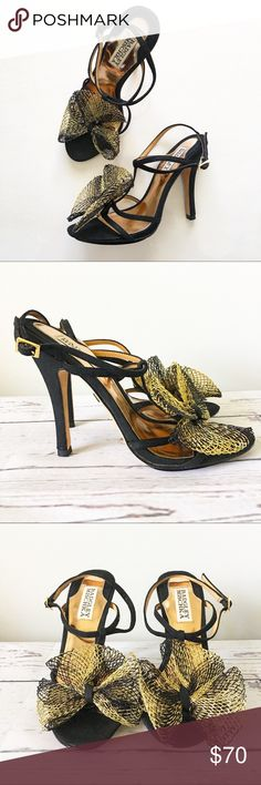 Badgley Mischka Black sky high mesh bow sandals Badgley Mischka Black sky high heels with ankle strap. Gold and black mesh bow on front. Size 6.5 Badgley Mischka Shoes Heels