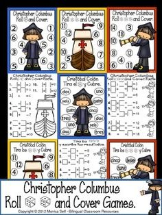 Celebrate Christopher Columbus/Cristobal Coln Day with this cute math independent center.Students roll 1,2 or 3 dice, add the numbers, and cover up the sum. First to cover all their numbers, wins! Each game board has the number of dice to roll.The following is what is included by page number.4: Christopher Columbus- 1 dice version5: Christopher Columbus- Number word (1 dice version)6: Cristbal Coln- 1 dice version7: Cristbal Coln- Number word (1 dice version)8: Sailboat- 2 dice version9…