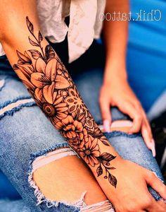 Unique Half Sleeve Tattoos, Unique Tattoos For Women, Tattoos For Women Flowers, Tribal Sleeve Tattoos, Forearm Sleeve Tattoos, Body Art Tattoos, Tattoos For Guys, Tatoos, Arm Tattoos For Women Forearm