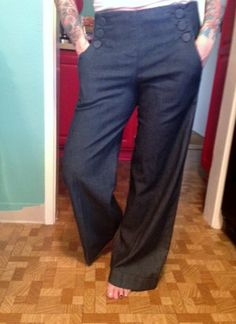 Rockabilly Sailor Pants Size 6P by GoldeneyesGoodies on Etsy, $40.00