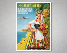 """Iberia Airlines - Canary Islands - vintage travel poster, """"The fortunate isles where everlasting Spring sparkles amid Atlantic foam. Vintage Advertisements, Vintage Ads, Vintage Airline, 1950s Posters, Tourism Poster, Travel Ads, Canary Islands, Vintage Travel Posters, Poster Prints"""