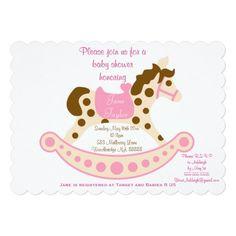 Pink Big Rocking Horse Baby Shower Invitations
