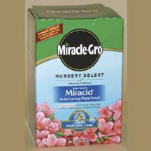Miracid Pro-Select- Helps stop chlorosis (yellowing leaves) fast. Essential for evergreens, blueberries, some fruit trees, azaleas and rhododendrons that have trouble extracting iron from the soil. Just apply through the foliage for rapid up-take...plants turn a richer, healthier green almost overnight.
