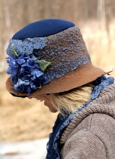 "Hand felted hat in blue and brown fashion for her under 100 - ""Everyday chic"". $68.00, via Etsy."