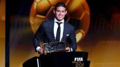 FIFA Puskas Award winner James Rodriguez of Colombia and Real Madrid accepts his award 13 Januari 2015