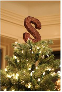 glitter monogram tree topper
