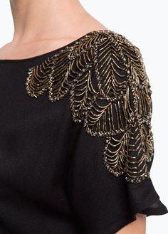 MANGO - Beaded shoulders top