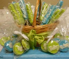 Green & Blue Pretzel Rods for A Baby shower. Chocolate covered Oreo's. All of these can be made in any color combination.