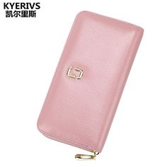 Fashion Genuine Leather Wallet Female Long Purse Wallet Women Zipper Women Wallets Card Holder for Lady Coin Purse Luxury Brand #Affiliate