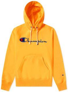Champion Reverse Weave Script Logo Hoody In Orange Yellow Champion Hoodie, Champion Sweatpants, Teen Guy Fashion, Mens Fashion, Champion Clothing, Stylish Hoodies, Yellow Hoodie, Script Logo, Mens Sweatshirts