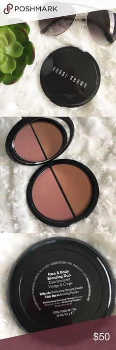 NWT Bobbi Brown Face/Body Bronzing Duo NWT Bobbi Brown Face/Body Bronzing Duo           ☀️Inspired by the look of skin bathed in afternoon light, this double-duty set creates a warm glow in in a sleek mirrored compact. ☀️The ultra-soft Illuminating Bronzing Powder packs a blend of sheer powder and micro-pearls for a seamlessly glowing finish allover the face. ☀️The other boasts the silky-smooth Shimmer Blush, the perfect way to add a pop of color to the apples of the cheeks.  This product…