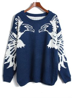 Navy Eagle Pattern Sweater