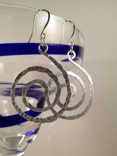 Spiral Earrings Silver Hammered Earrings Aluminum by theWRAPstar, $11.95