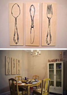 diy pottery barn canvas knife, fork and spoon. I would like to make these in bright pop art colors.