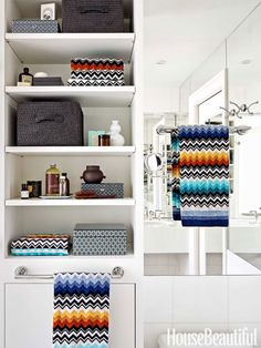 Niles towels from Missoni Home pick up the chevron motif in this bathroom. Design: Alla Akimova.
