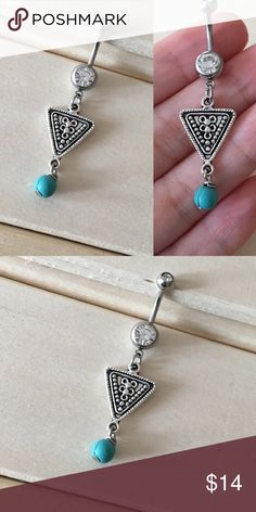 Blue Turquoise Boho Triangle Belly Button Ring Condition: Brand New Metal : Surgical Steel  Size: 14 Gauge   If you have any questions please leave a comment down below.  Reasonable offers  accepted  I do not trade .   -Belly Button Ring Navel Piercing 14G Surgical Steel Body Jewelry New- Jewelry Rings