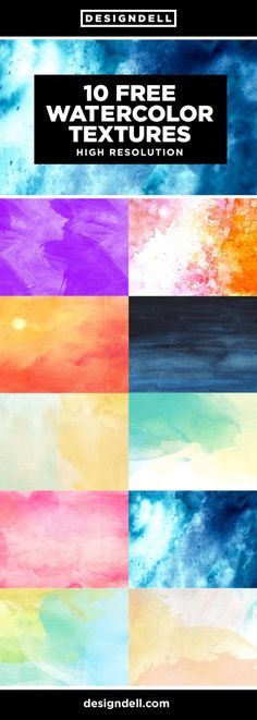 10 FREE Watercolor Textures 10 Free soft and colorful watercolor textures High Resolution JPGs 10 different textures 1920 x 1080 px 300 dpi Watercolor Splatter, Watercolor Texture, Watercolor Background, Watercolor Print, Game Design, Web Design, Graphic Design, Free Texture Backgrounds, Photoshop Pro