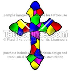 Stained Glass Cross tattoo design by Brad Hume