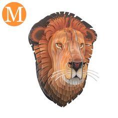 Trophée Tête de Lion en Carton décoré - Moyen