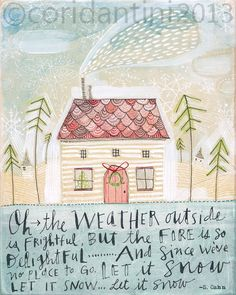 ORIGINAL watercolor painting of a christmas cottage  folk by corid
