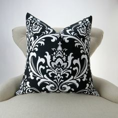 BLACK Damask Pillow Cover MANY SIZES white by DeliciousPillows