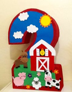Number two ♥ Farm pinata. Farm Animal Party, Farm Animal Birthday, Farm Birthday, 2nd Birthday Parties, Farm Animal Cupcakes, Farm Themed Party, Barnyard Party, Farm Party Kids, Birthday Pinata