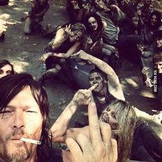 Meanwhile on the set of The Walking Dead..