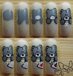 Teddy bear nail art step by step Nail Art Hacks, Gel Nail Art, Nail Swag, Nail Art Disney, Minion Nail Art, Casual Nails, Acrylic Nails Coffin Pink, Nail Drawing, Nail Mania