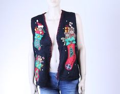 Cute Vintage Christmas Sweater Vest Family Christmas Sweater Family Christmas Sweaters, Vintage Christmas Sweaters, Vintage Sweaters, Ugly Christmas Sweater, Lace Denim Shorts, Vintage Outfits, Vintage Fashion, Collar Shirts, Knitwear