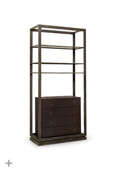 Hoplon is an a mid century modern bookcase made with brass and synthetic leather. A mid century modern bookcase that has the strength of Spartan warriors.