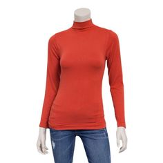 Ladies Seamless Long Sleeve Turtleneck Top #RawFashion #TightSweater #Classic #Timeless #Red #Retro