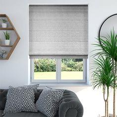 Ecliptic Warm Silver Roman Blind Grey Bedroom Blinds, Grey Roman Blinds, Grey Roller Blinds, Gray Bedroom, Home Bedroom, Bedroom Ideas, Master Bedroom, Condo Interior Design, Gray Interior