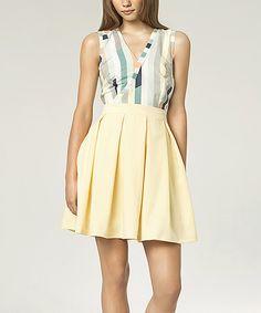 Yellow Stripe Surplice Fit & Flare Dress by NIFE #zulily #zulilyfinds