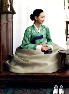 Korea--the proper way to sit in Hanbok