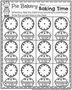 Grade Math and Literacy Worksheets with a Freebie! First Grade Worksheets for Fall - Pie Bakery Baking Time.First Grade Worksheets for Fall - Pie Bakery Baking Time. Free Printable Math Worksheets, 1st Grade Math Worksheets, 2nd Grade Math, Grade 1, Summer Worksheets, 1st Grade Activities, Money Worksheets, Time Activities, Second Grade