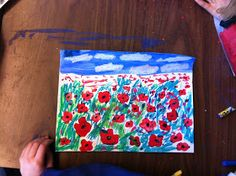 Art Room with a View: Poppy Fields for Remembrance Day Remembrance Sunday, Art Studies, Social Studies, Art Lessons Elementary, Arts Ed, Halloween Art, Red Poppies, Art Activities, Watercolor Flowers