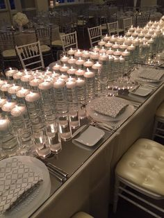 Elegant Minneapolis Wedding Radiates with Light - MODwedding All White Wedding, Mod Wedding, Wedding Stuff, Hotel Wedding Inspiration, Wedding Ideas, Floating Candle Centerpieces, Centerpiece Ideas, Science Wedding, Wedding Table Settings
