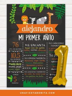 Chalkboard Safari ideal para recordar datos importantes del primer añito de vida de tu bebé, listo para descargar, personalizar los textos e imprimir. Puedes organizar una fiesta de safari e invitar a todos tus familiares y amigos. Safari Birthday Party, First Birthday Parties, First Birthdays, Jungle Party, All Themes, Party Themes, Theme Parties, Safari Invitations, 1st Birthday Chalkboard