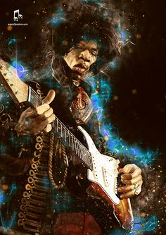 Caricature poster image of Jimi Hendrix. Available at popcultposters.com and Etsy!