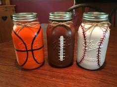 Sports mason jars diy basketball baseball football man cave