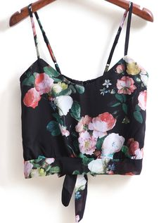 Black Spaghetti Strap Floral Knotted Cami Top 13.50