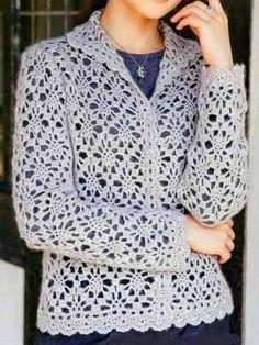 Crochet Vest and Scheme Crochet Coat, Crochet Cardigan Pattern, Crochet Shirt, Crochet Jacket, Easy Crochet Patterns, Crochet Clothes, Crochet Stitches, Lace Cardigan, Crochet Sweaters