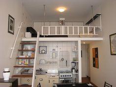 Inspiring tiny apartment with loft decor ideas Tiny Apartments, Tiny Spaces, Loft Spaces, Small Rooms, Loft Apartment Decorating, Apartment Layout, Apartment Living, Apartment Ideas, Tiny Loft
